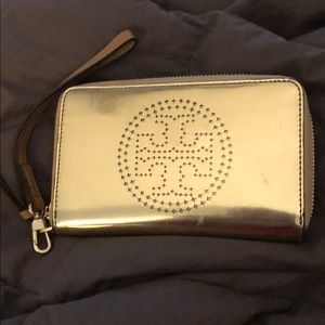 Tory Burch Gold Embossed wristlet